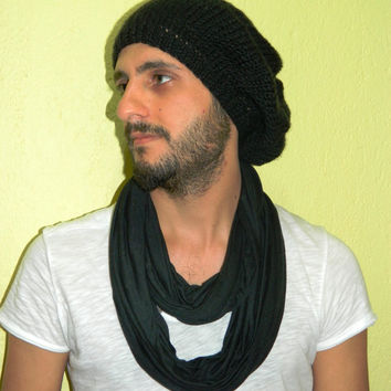 Nomad scarf,Men infinity Scarf Black. Infinity Scarf, Loop Scarf, Circle Scarf, textile Black Scarf, Cowl Scarf, Nomad Cowl....