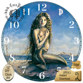 "Mermaid Mother and Child Art --DIY Digital Collage - 12.5"" DIA for 12"" Clock Face Art - Crafts Projects"