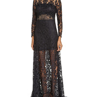 Long-Sleeve Sheer Lace Gown,