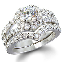 Laurel's Heart Shape Faux Diamond Wedding Ring Set