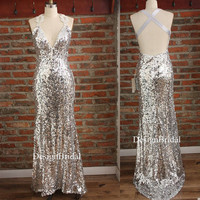 Silver Sequin Dress with Train,V-neck Sequin Long Dress,Sexy Formal Cocktail Dress,Banquet Ball Gown,Cross Back Women Pageant Party Dress