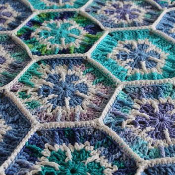 Afghan- Handmade Snowflake Hexagon Crochet Blanket - purple and aqua