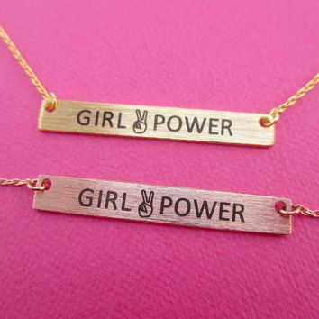 Girl Power Peace Sign Minimal Bar Pendant Necklace in Gold or Rose Gold