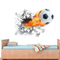 vivid 3D Football Soccer Playground Broken Wall Hole window view home decals wall sticker for boys room sports decor mural SM6