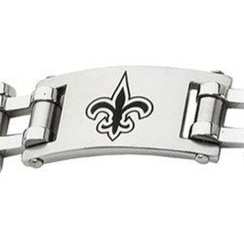 Stainless Steel New Orleans Saints Team Logo Bracelet - 8 Inch