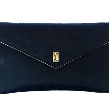 YVES SAINT LAURENT!!! Vintage 1980s 'Yves Saint Laurent' black satin envelope clutch with magnetic button clasp and gold piping