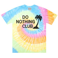 Do Nothing Club Tie Dye T-Shirt, 90s Palm Tree Vacation Shirt, Unisex Cotton Tie Dye T-Shirt by Burger and Friends