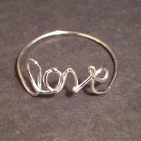 love word ring love ring ring handmade love by EllynBlueJewelry