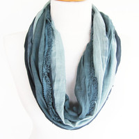 Gray Cotton Scarf, Infinity Scarf, Loop Scarf, Christmas Gift