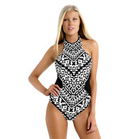 Plus size Women Swimwear Geometric pattern Swimsuit One Piece Sexy Beach Bathing suits Lace up Monokini Halter Biquini