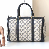 Vintage Authentic Gucci Navy Monongram Boston Tote handbag