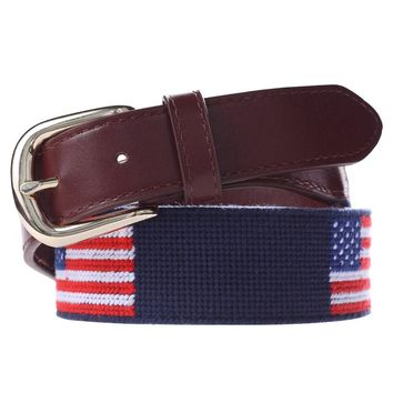 Hongmioo 2017 Men Belt Luxury Famous Brand Flag Needlepoint Men Belt Leather With Genuine Leather Strap Blue And Red Color