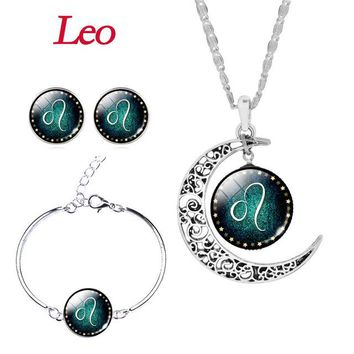 Jewelry Set Silver Plated with Glass Cabochon Zodiac Pattern Stud Earring Necklace & Bracelet Bangle Set for Women.