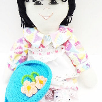 flowered bonnet 18 inch handmade, cloth rag doll, ragdoll, girl, soft body doll, ice cream print, NF88
