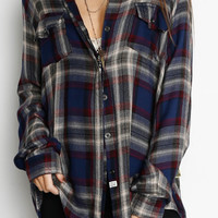 VINTAGE HAVANA Plaid Zip Up Back Top