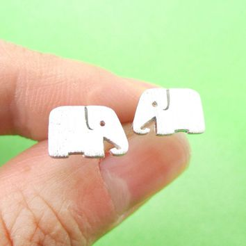 Simple Elephant Silhouette Shaped Stud Earrings in Silver | Allergy Free