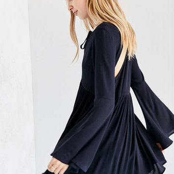 Ecote Crochet-Trim Bell-Sleeve Mini Dress - Urban Outfitters