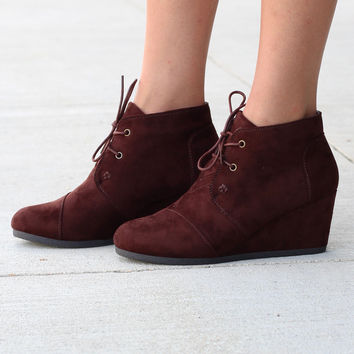 Sabrine Suede Wedge Booties {Brown}