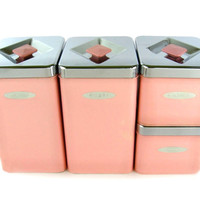 1950s Pink Canister Set / Kitchen Cainsters / Masterware Canette