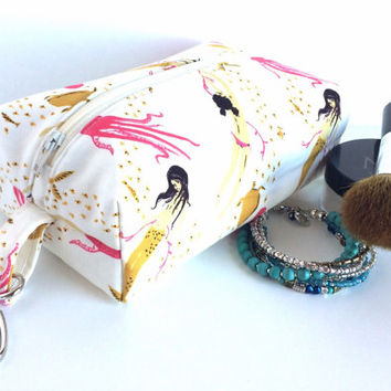 Boxy Makeup Bag,  Mermaid Boxy Bag, Small Boxy Bag, Key Chain Boxy Bag, Small Zipper pouch