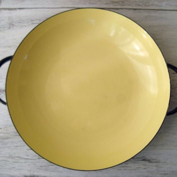 Vintage Caravelle French Sizzling Server Yellow Enamel Ware Pan, Vintage Cooking Pot