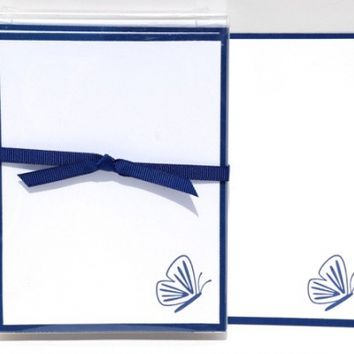 10 Hand Stamped Flat Notecards With Elegant Navy Butterfly