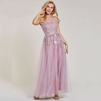 Long dress pink neck cap sleeves floor length a line dresses women appliques evening formal gown