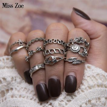 Miss Zoe 11pcs/set Retro Sun and Moon Flowers Waves Twist Carved Ring Midi Rings Stone Ethnic Ring Gold Silver Women Jewelry