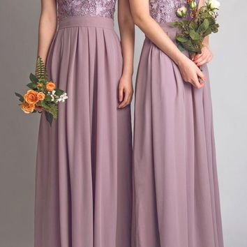 New Scoop Lace Simple Long Bridesmaid Dresses Floor Length Chiffon Cheap Bridesmaid Dresses Elegant Wedding Party Gown C112