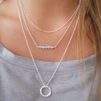 Organic Circle Long Necklace. Layering Silver Necklace. Sterling Silver Necklace. Ring Necklace