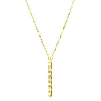 14K Yellow Gold Textured Cylinder Pendant Chain Necklace
