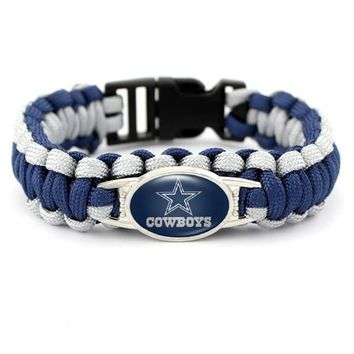 Outdoor Braided Paracord Survival Bracelets Dallas Cowboys Charm Parachute Cord Bracelet Wristband Emergency Rope 10pcs/lot