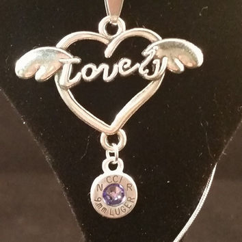 Lovely Heart Pendant with 9mm Aluminum Headstamp Swarovski crystal (Tanzanite)