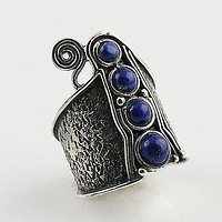 Lapis Whimsical Sterling Band Ring