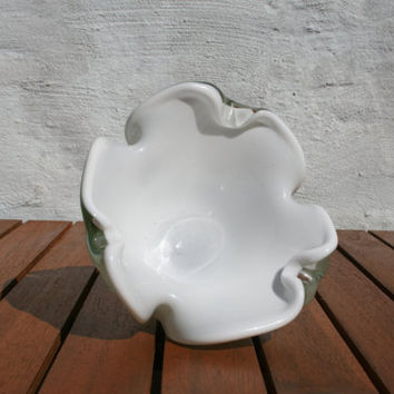 white Murano ashtray / Murano glass / mid century