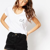 ASOS T-shirt With V Neck And Cheer Up Butter Cup Embroidered Pocket