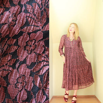 90s - Romantic - Merlot - Burgundy Red - Rose Floral Lace - Crinkle - Button Down - Baby Doll - Maxi Dress - Grunge Revival