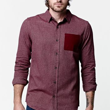 On The Byas Kadar Long Sleeve Button Up Shirt - Mens Shirt - Red