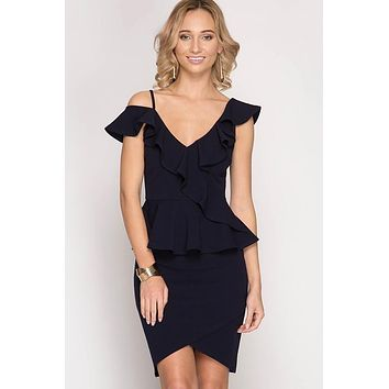 Ruffled One Shoulder Peplum top - Navy
