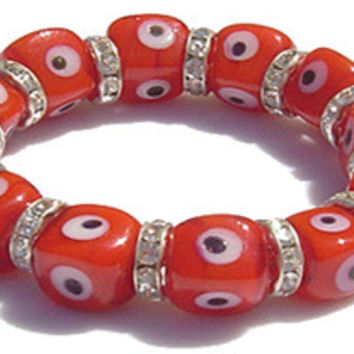 Swarovski Crystal Evil Eye Orange Cube Bracelet