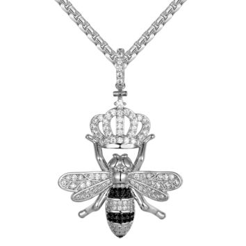 Men's Honey Bee Queen With Crown Custom Pendant Chain