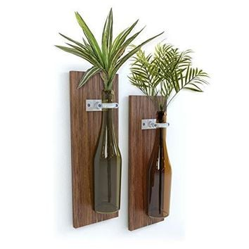 Meraki Designs Wine Bottle Wall Vases – Set of 2: Rustic Home Decor, Bottles Not Included, Add Your Own Special Bottle & Flowers!