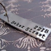 Sherlock Inspired - 221B Baker Street - Hand Stamped Keyring - Customizable
