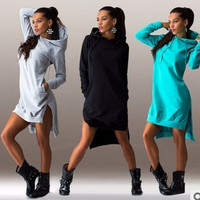 Hot Sale Stylish Irregular Hats Long Sleeve Hoodies One Piece Dress [7322499329]