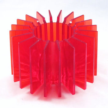 Mod RED Candle Holder RADIATING STAR Lucite Plastic 1970s