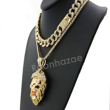Hip Hop Iced Out Quavo FEROCIOUS LION Miami Cuban Choker Tennis Chain Necklace L24