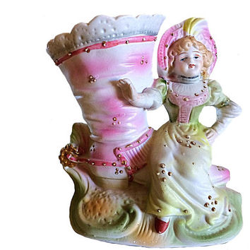 Victorian Shoe Vase, Shoe Vase, Victorian Girl Vase, Victorian Girl Sitting on Shoe, Bisque Shoe Vase, Easter Vase, Collectible Shoe, Gift