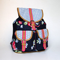 Floral Checks Backpack Bag