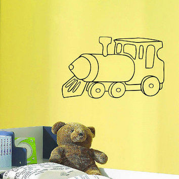 WALL DECAL VINYL STICKER CARTOON FUNNY TRAIN ROOM NURSERY DECOR SB268