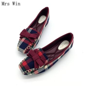 England Style Gingham Women Casual Loafers Spring Square Toe Bowtie Slip On Flats For Woman Ladies Single Shoes Plus Size